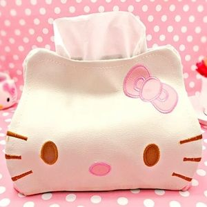 Hello kitty tissue holder with embroidered detail